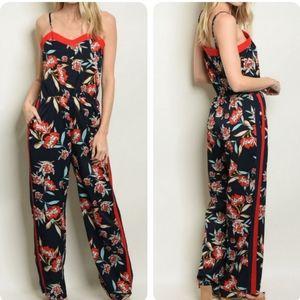 Pants - Navy red floral jumpsuit
